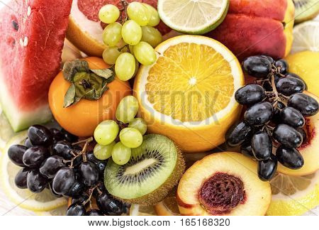 Fruit on the table. Fresh juicy fruits