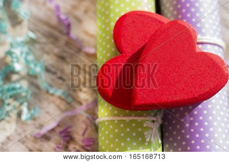 Background or greeting card for Valentine's Day. Blurred background.