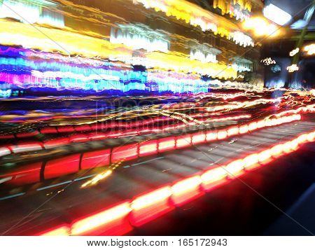 Acceleration Speed Motion On Night Street In City With Car Light Trails