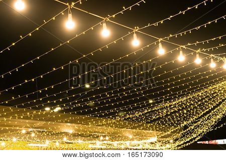 Gold Lights and bokeh lanterns and lights at night