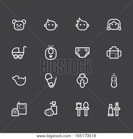Baby stuff element vector white icon set1 on black background