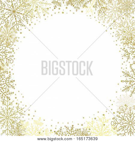 Winter frame with arabesques and snowflakes. Fine greeting card. Golden and white pattern