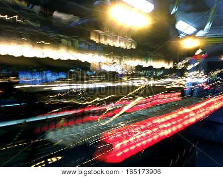 High Speed Traffic And Blurred Light Trails. City Street At Night Time.