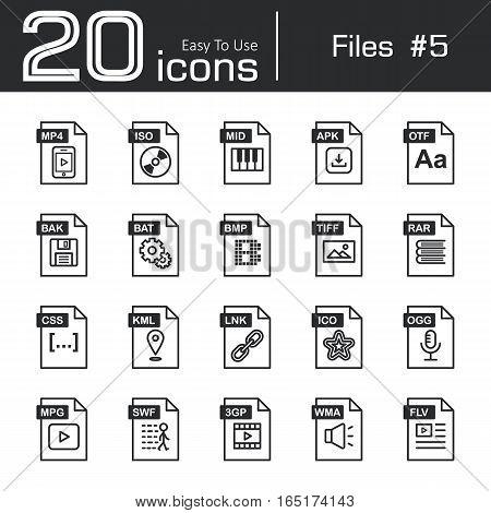 Files icon set 5 ( mp4 iso mid apk otf bak bat bmp tif rar css kml ink ico ogg mpg swf 3gp wma flv )