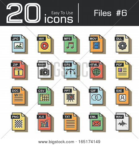 Files icon set 6 ( jpg avi mp3 mov dll zip raw eps html pdf doc csv ppt gif exe png xls txt eml wav ) vintage and retro style .