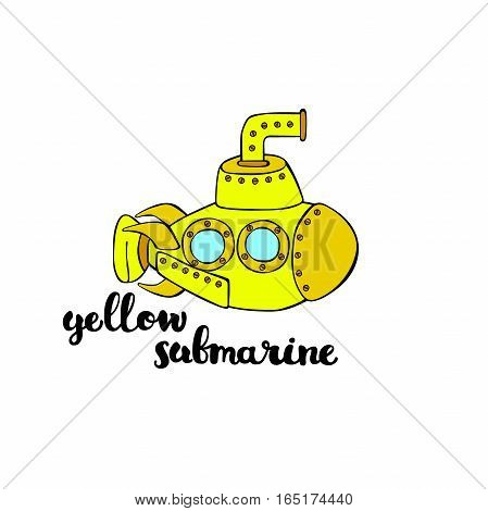 Yellow Submarine. Isolated vector object on white background.