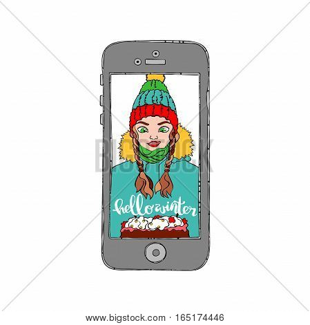 Mobile phone. Beautiful girl. Cake. Hello winter. Knitted hat. Isolated vector object on white background.