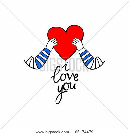 Red heart in hands. I love you. Isolated vector objects on white background.