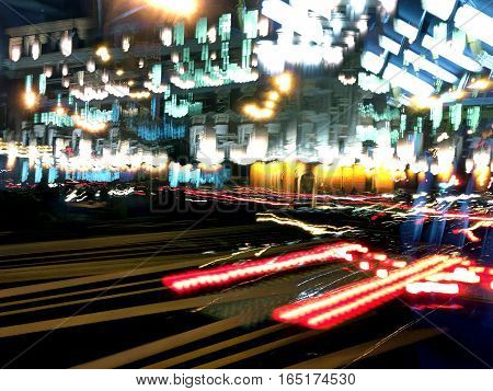 Motion Blur Abstract Background. Midnight Traffic.