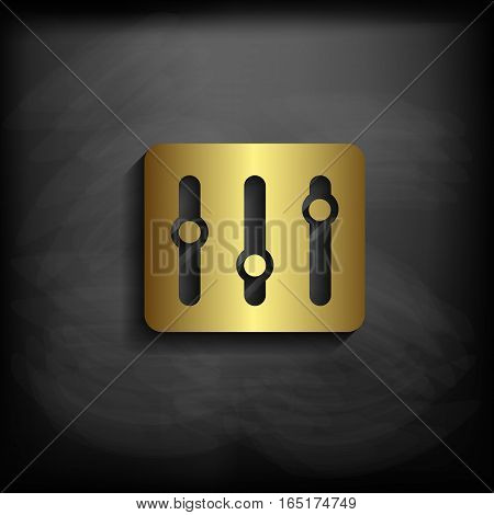 Equalizer Sign Icon Gold Color With Long Shadow,vector Eps10 Illustration