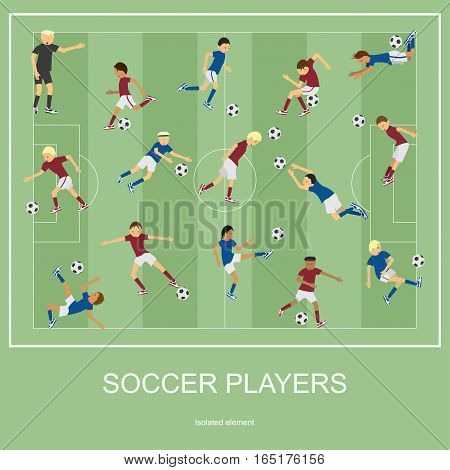 Set of soccer players. Soccer player flat. Soccer player design. Soccer player illustration. Soccer player Vector. Soccer player Picture. Soccer player Image. Soccer player Art. Soccer player EPS.