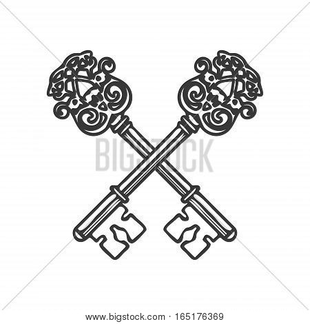 Crossed Keys isolated on white background vector illustration