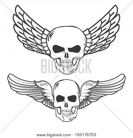 Winged Skulls isolated on white background vector illustration