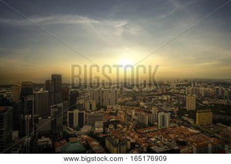 scene of sunset of cityscape and resident area - can use to display or montage on product