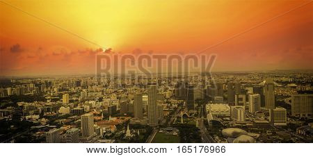 panorama of sunset cityscape of singapore view from rooftop - can use to display or montage on product