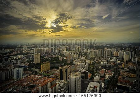 abstract cityscape on sunset cloud and yellow light sky - can use to display or montage on product