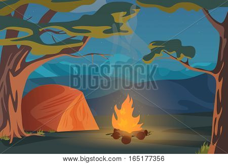 Climbing, Walking, Hiking or Sports outdoor camping recreation landscape, nature adventures vacation illustration. Wood in night