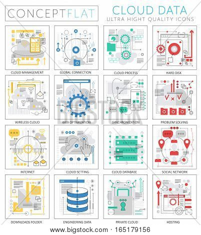 Infographics mini concept Cloud data icons for web. Premium quality design web graphics icons elements. Cloud big data concepts