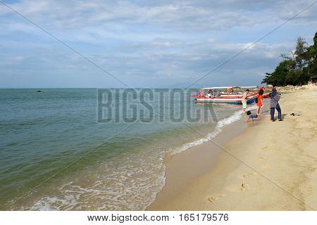 Unidentified Tourist Enjoying At The Batu Feringghi Beach