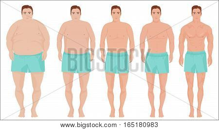 Man diet concept. Men slimming stage progress. Man before and after a diet