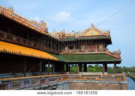 Fragment of a terrace of imperial gate of the Forbidden purple city. Hue, Vietnam
