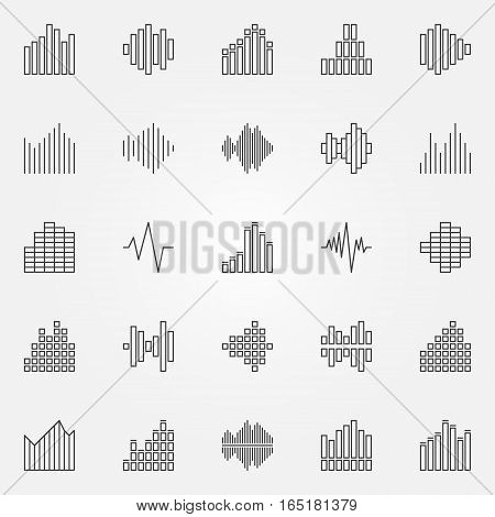 Music sound wave icons set - vector audio waveforms concept symbols in thin line style