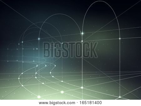 Cosmic technology background. Thin curved lines with glowing dots on a gradient mesh.
