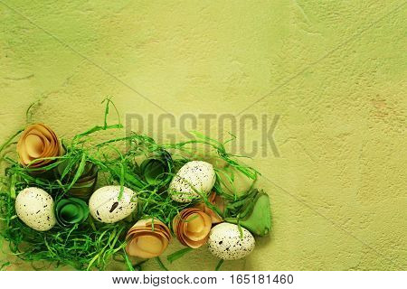 background with Easter symbols, eggs, butterflies, flowers