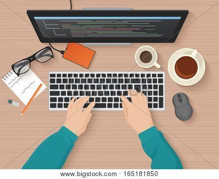 Developer working at computer. Programmer hands coding. Programming flat illustration concept. Vector top view