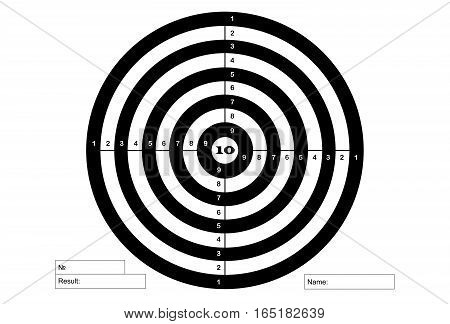 Target for shooting vector in white and black colors