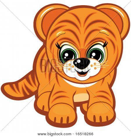 Vector Little tiger - one of the symbols of the Chinese horoscope