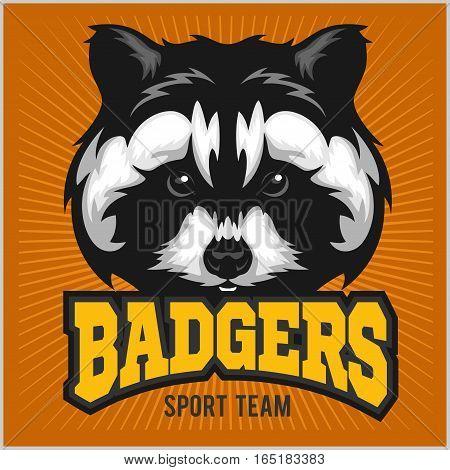 Badger Head - Sport team Logo - vector illustration