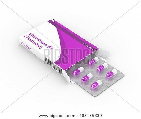 3D Rendering Of B1 Vitamin Pills  In Blister Pack