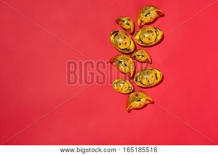Chinese New Year Decorations On Red Background With Gold Spots.
