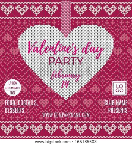 Valentine's Day party flyer. Beautiful backdrop with red heart and bow on tape. Invitation to nightclub. Seamless pattern with an image of the Norwegian and fairisle patterns. Wool knitted texture. Vector Illustration.
