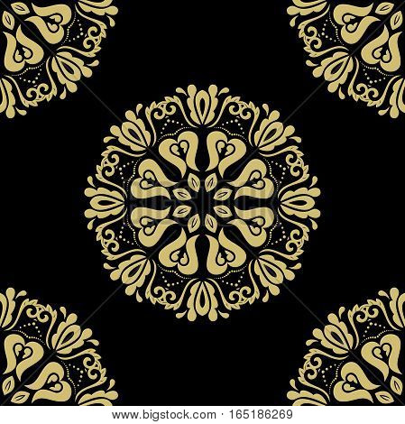 Elegant classic pattern. Seamless abstract background with repeating elements. Black and golden pattern
