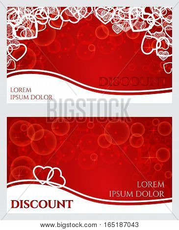discount card for Valentine's Day white pattern of hearts contours on a red background with bokeh and stars