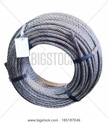 Ring of steel metal cargo cable. Mockup. Isolated on white background.
