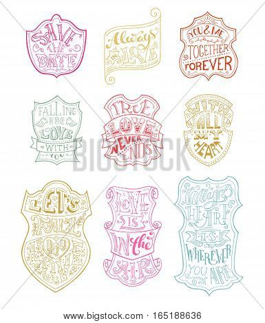 Vector Set Of Outlined Romantic Badges.