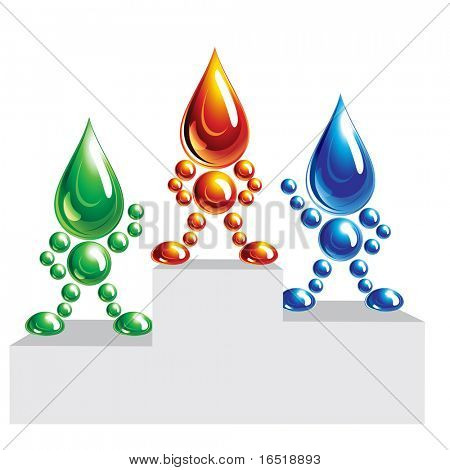 Oil, water and eco man on a podium.