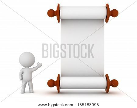 A small 3D character showing a large empty scroll of paper. Isolated on white background.