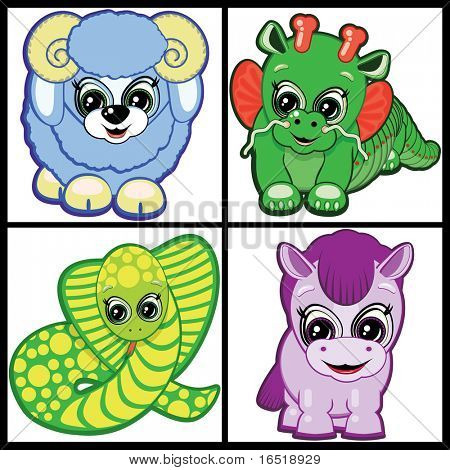 Set of Little Animals -  symbols of the Chinese horoscope.Part Two.