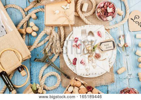 Tableware With Dry Flowers And Decorations