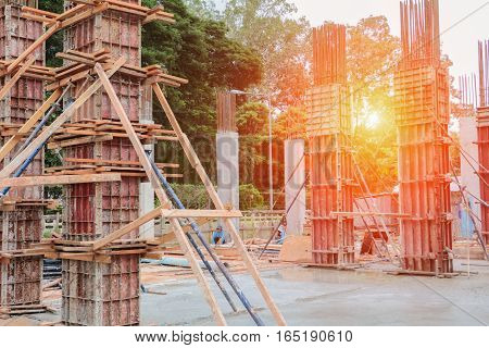 construction bunting in building site workplace with sunset light tone