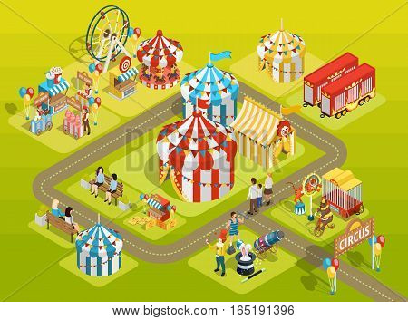 Travel circus attractions isometric composition amusement park schema with striped tents  observation wheel and visitors vector illustration