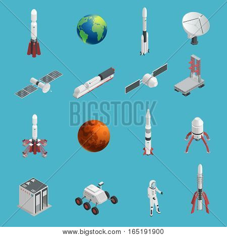 Isolated and colored 3d rocket space icon set with cosmic elements and technical tools for work in space vector illustration
