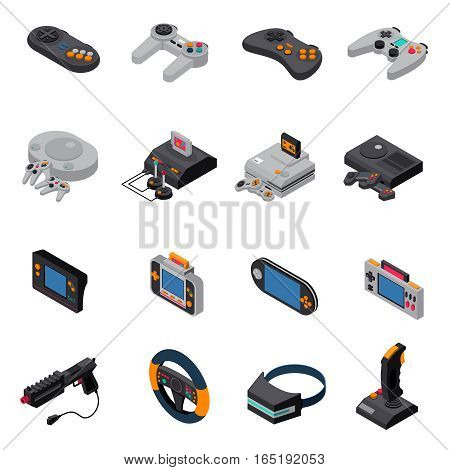 Game gadgets isometric icons collection of  consoles joysticks gamepads virtual mask wheel steering gun isolated vector illustration
