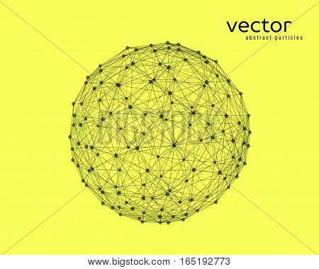 Abstract vector illustration of sphere on yellow background