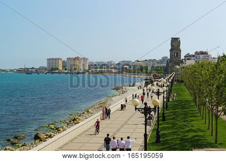 NOVOROSSIYSK RUSSIA - MAY 08.2016: embankment of the city of Novorossiysk with strolling people