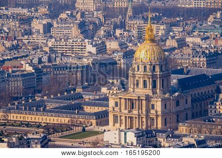 Paris from the top with the view of Les Invalides at daylight